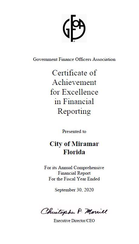GFOA - Certificate of Achievement for Excellence in Financial Reporting - 2019