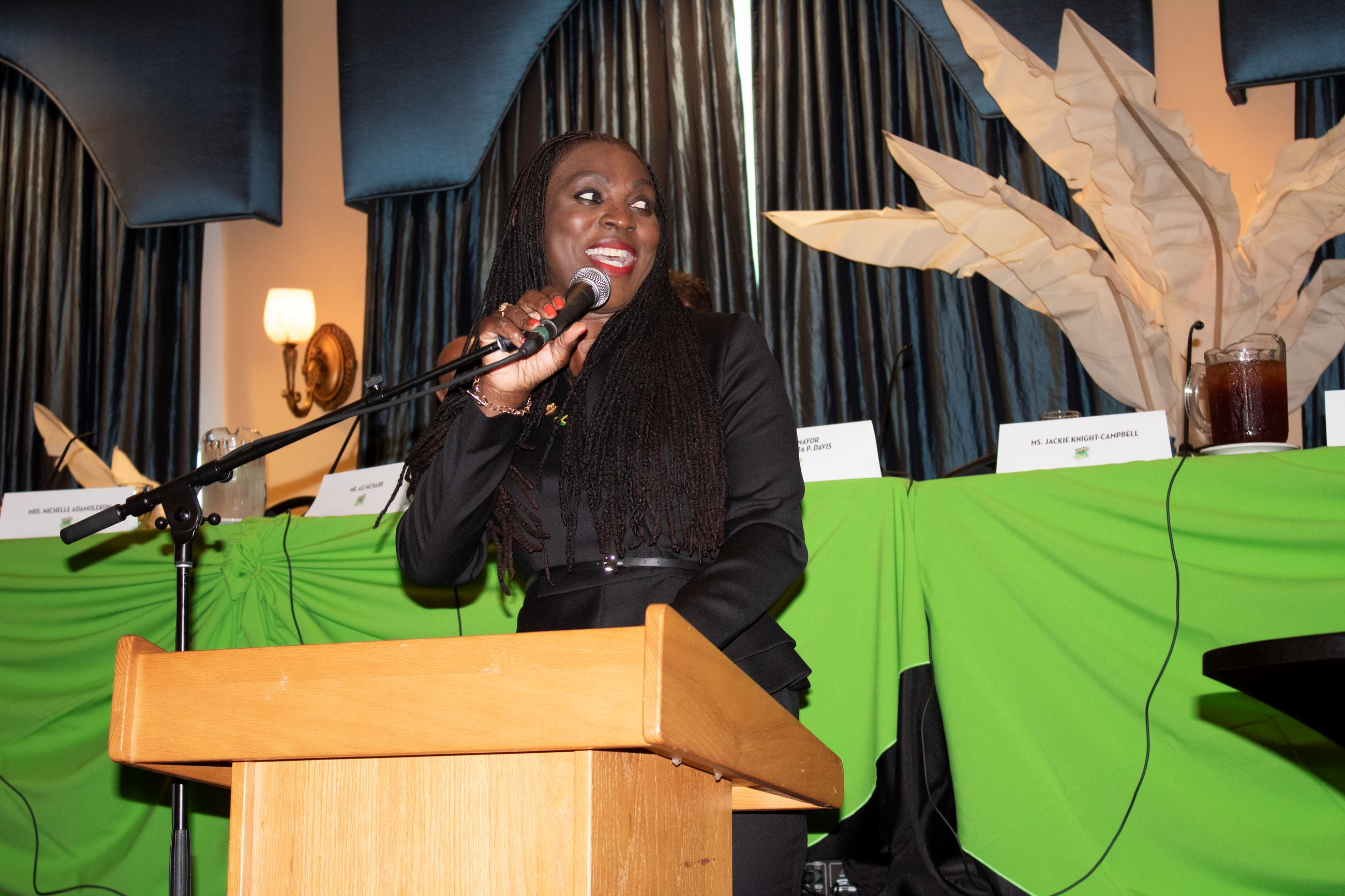 Vice Mayor Alexandra P. Davis Speaking at the Reggae Girlz Send Off