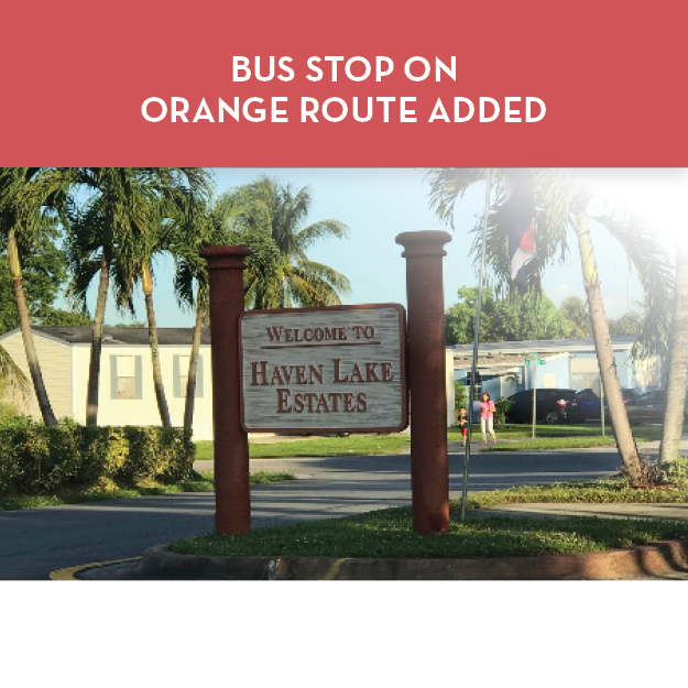 New Bus Stop Added at Haven Lake Estates