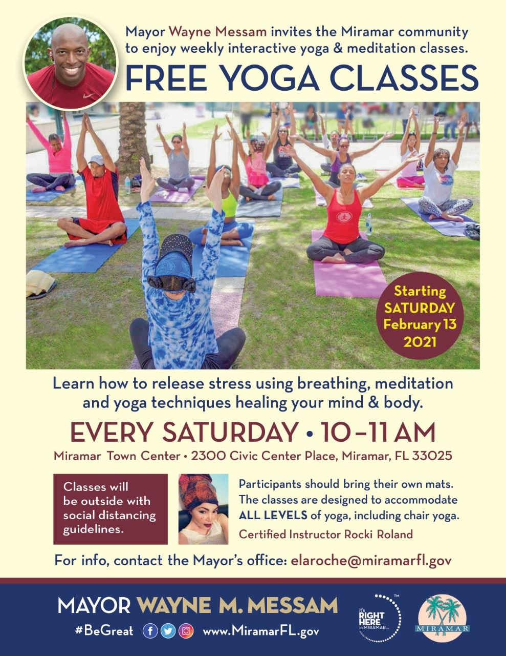 Mayor Messam Free Yoga Saturdays Flyer