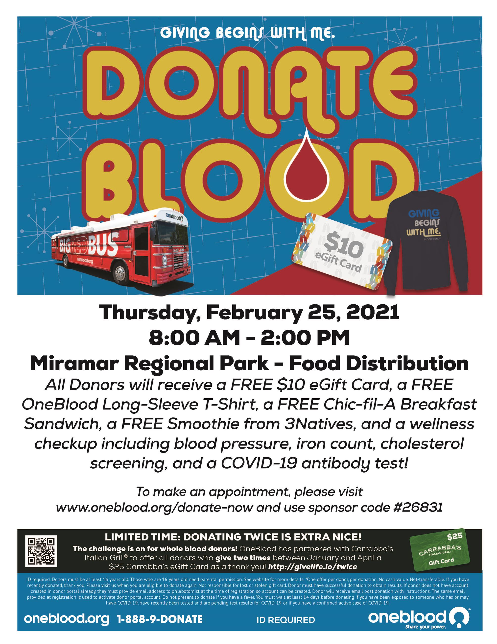 Blood Drive at Regional Park Food Distribution February 25 - Flyer